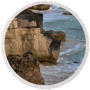 Jagged Shore Round Beach Towel