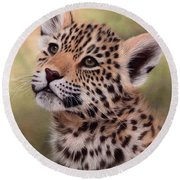 Jaguar Cub Painting Round Beach Towel
