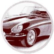 Jaguar E-type - Cross Hatching Round Beach Towel