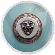 Round Beach Towel featuring the photograph Jaguar Hood Emblem by Cheryl Hoyle