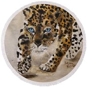 Big Cat Stalk Round Beach Towel by Barbie Batson