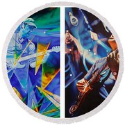 Round Beach Towel featuring the painting Jake And Brendan by Joshua Morton