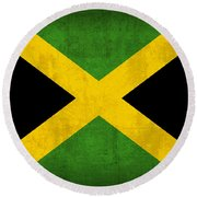 Jamaica Flag Vintage Distressed Finish Round Beach Towel
