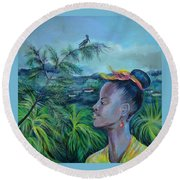 Round Beach Towel featuring the painting Jamaica. Part Two by Anna  Duyunova