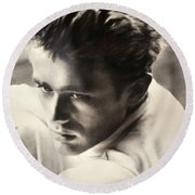 James Dean Black And White Round Beach Towel by Jay Milo