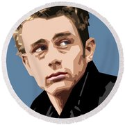 James Dean In Color Round Beach Towel