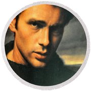 James Dean Round Beach Towel by Jay Milo
