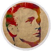 James Dean Watercolor Portrait On Worn Distressed Canvas Round Beach Towel by Design Turnpike