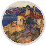 James House Carmel Highlands California By Rowena Meeks Abdy 1887-1945  Round Beach Towel by California Views Mr Pat Hathaway Archives
