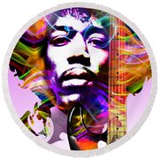 James Marshall Hendrix Round Beach Towel