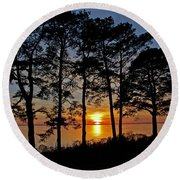 James River Sunset Round Beach Towel by Suzanne Stout