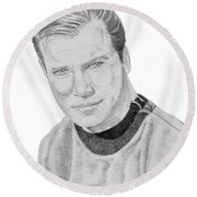 Round Beach Towel featuring the drawing James Tiberius Kirk by Thomas J Herring