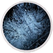 Round Beach Towel featuring the photograph jammer Frozen Cosmos by First Star Art