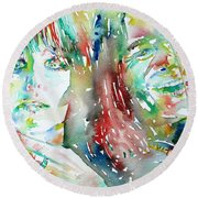 Janis Joplin And Grace Slick Watercolor Portrait.1 Round Beach Towel by Fabrizio Cassetta