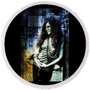 Janis Joplin - Blue Round Beach Towel by Absinthe Art By Michelle LeAnn Scott