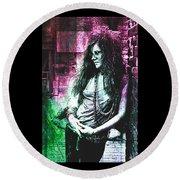 Janis Joplin - Pink Round Beach Towel