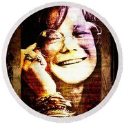 Janis Joplin - Upclose Round Beach Towel by Absinthe Art By Michelle LeAnn Scott