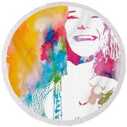 Janis Joplin Watercolor Round Beach Towel