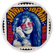 Janis Stamp In A Groovy Vibe Round Beach Towel