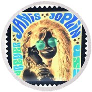 Janis Stamp In A Negative Vibe  Round Beach Towel