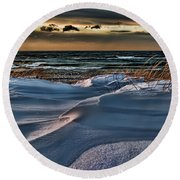January Saugatuck Blues Michigan Round Beach Towel