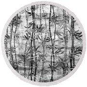 Japanese Bamboo Grunge Black And White Round Beach Towel