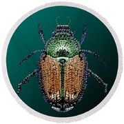 Japanese Beetle Bedazzled II Round Beach Towel