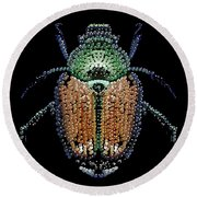 Japanese Beetle Bedazzled Round Beach Towel