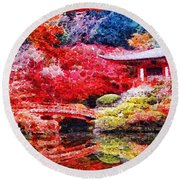 Japanese Garden Round Beach Towel