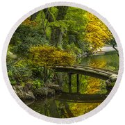 Round Beach Towel featuring the photograph Japanese Garden by Sebastian Musial