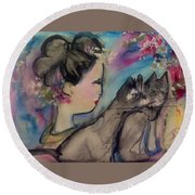 Japanese Lady And Felines Round Beach Towel