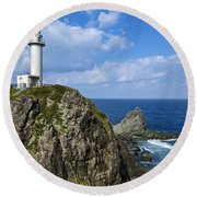 Japanese Lighthouse At Uganzaki Round Beach Towel