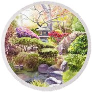 San Francisco Golden Gate Park Japanese Tea Garden  Round Beach Towel