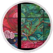 Round Beach Towel featuring the painting Japanesse Flower Arrangment by Joshua Morton
