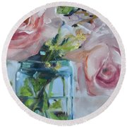 Jar Of Pink Round Beach Towel by Donna Tuten