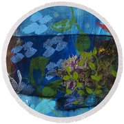 Round Beach Towel featuring the painting Jardine Cat by Robin Maria Pedrero