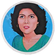 Round Beach Towel featuring the painting Jasmina by Cyril Maza