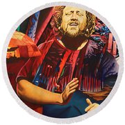 Round Beach Towel featuring the painting Jason Hann At Horning's Hideout by Joshua Morton