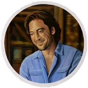 Javier Bardem Painting Round Beach Towel by Paul Meijering