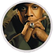 Jay-z Artwork 2 Round Beach Towel by Sheraz A