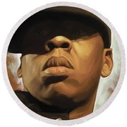 Jay-z Artwork Round Beach Towel by Sheraz A