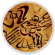 Round Beach Towel featuring the painting Jazz Abstract Coffee Painting by Georgeta  Blanaru
