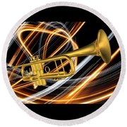 Jazz Art Trumpet Round Beach Towel