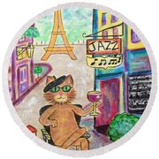 Round Beach Towel featuring the painting Jazz Cat by Diane Pape