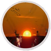 Round Beach Towel featuring the digital art Jazz Fest by Cathy Anderson