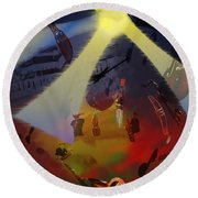 Round Beach Towel featuring the digital art Jazz Fest II by Cathy Anderson