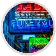 Jazz Funeral And Jester On Bourbon St. Round Beach Towel