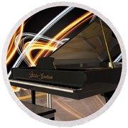 Jazz Piano Bar Round Beach Towel