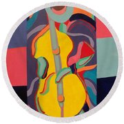 Jazzamatazz Cello Round Beach Towel