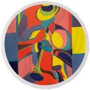 Jazzamatazz Horn Round Beach Towel by Angelo Thomas